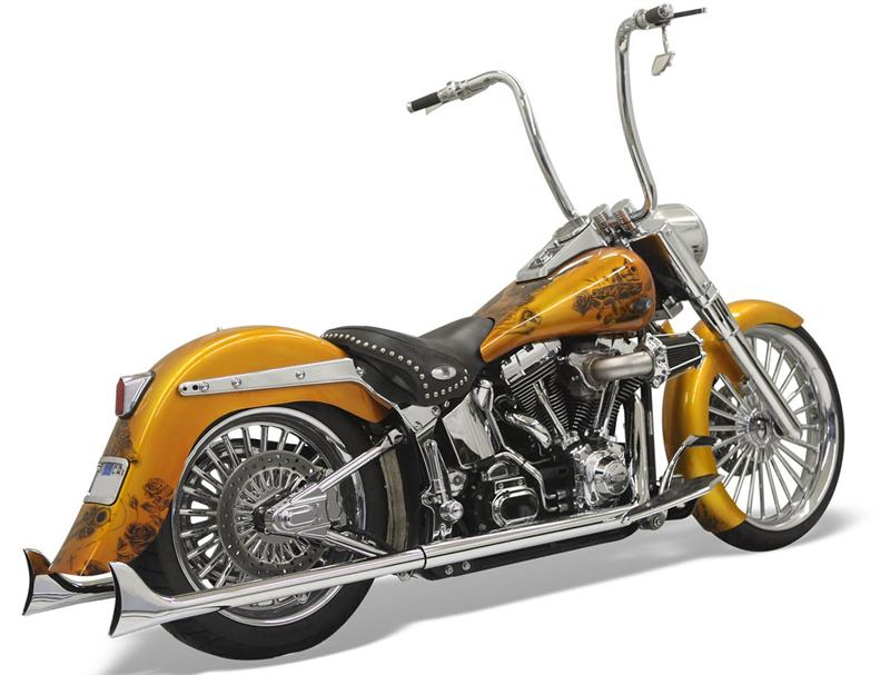 Custom Indian Motorcycle For Sale >> Chrome True Duals w/30 in. Long Fishtail Mufflers For Softail- 1S16E-30 '89-'06